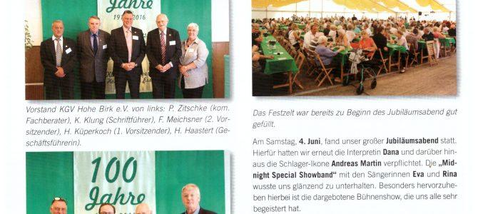 Artikel zur 100-Jahr Feier im Grünen Boten
